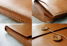 "Handmade 13"" MacBook Air Leather Envelope Case with Free Monogramming - made to order"