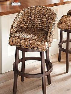 Milo Swivel Seagrass Stool - Grandin Road