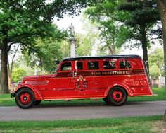 1937 Seagrave Safety Sedan. Detroit Fire Department affiliated group restored the vehicle and dedicated it as the Memorial Rig.