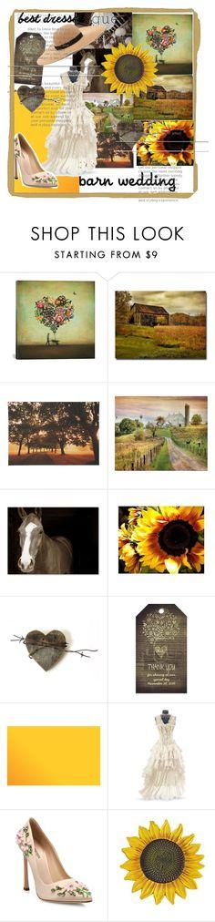 """barn wedding"" by cutiepiegothdoll-1 ❤ liked on Polyvore featuring iCanvas, Trademark Fine Art, Graham & Brown, Pottery Barn, Giambattista Valli, Forever 21, bestdressedguest and barnwedding"