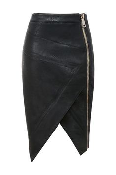 Black faux leather asymmetric skirt with exposed side zipper.. DIY the look yourself: http://mjtrends.com/pins.php?name=zipper-for-skirts