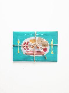 All Day Breaffast  Greeting Card set - Holiday Cards - Greeting Card Set - - Christmas - Anniversary - Graduation Kraft Envelope by dekanimal, $13.00