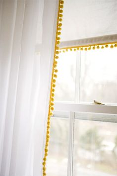 pom pom trim - add to basic curtains for A's new room? Pom Pom Curtains, White Curtains, Plain Curtains, Fringe Curtains, Modern Net Curtains, Mustard Yellow Curtains, Patterned Curtains, Layered Curtains, Purple Curtains
