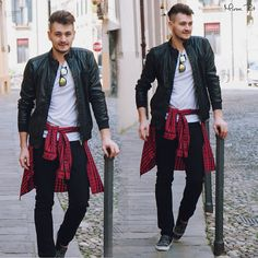 wicked leather jacket. love it. love the pop of red too. #MensWear #LeatherJacket