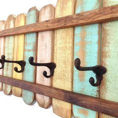 Wood Coat Rack Cast Iron Coat Hook / Shabby by RiversideStudioON