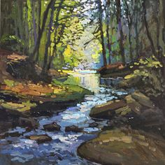 Babbling Creek by Jan Schmuckal Oil ~ 8 x 8