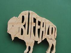 Buffalo Puzzle Cut On Scroll Saw by DukesScrollSaw on Etsy