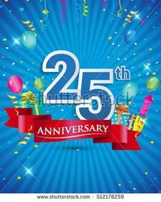 Celebrating 25 years Anniversary logo, with confetti and balloons, red ribbon, Colorful Vector design template elements for your invitation card, flyer, banner and poster.