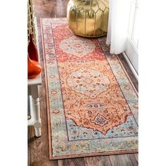 nuLOOM Traditional Floral Oriental Border Orange Runner Rug (2'6 x 8') - 18859177 - Overstock.com Shopping - Great Deals on Nuloom Runner Rugs