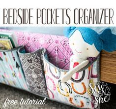 Love this bedside-pockets-organizer-tutoria from Sew Can She featuring Luckie From Blend Fabrics