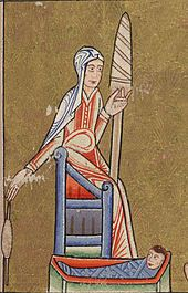 Eve spinning, from the Hunterian Psalter , English, ca 1170