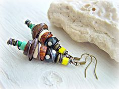 African Earrings  African Jewelry  Hippie by HandcraftedYoga, $25.00