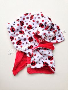 Lady Bug Blanket Red Lady BugRed Grey by DesignsByDiBlankets