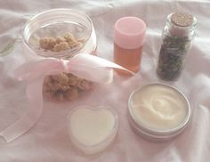 gifts for a friend's birthday ♡homemade maple butter crumble, herbal cough syrup, calendula healing salve, cinnamon sugar cookie hand lotion and scented forest vial♡