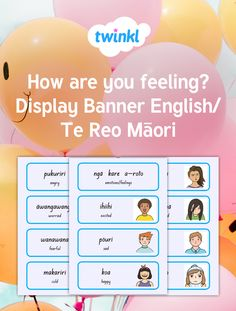 This resource uses Te Reo Māori and English. You can use these cards to discuss feelings and emotions. Excellent for bilingual learning environments and/or classrooms who are extending their Te Reo Māori vocabulary. Emotion Words, Describing Words, Feelings And Emotions, Learning Environments, Teaching Resources, Vocabulary, Preschool, Banner, Happiness