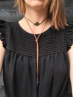 Leather lariat choker necklace with jade connector and leaf charms, bolo