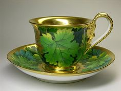 4:00 Tea... Royal Vienna - Wine Leaves Teacup and Saucer (with Impress Beehive mark)