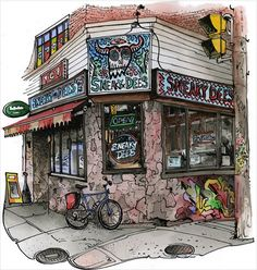 Sneaky Dee's by David Crighton. The artwork represented on this website are digitally printed by the artist in his studio on acid-free paper using archival quality inks Signed and dated in pencil by the artist. Arcade Fire, Online Posters, Kings Crown, Custom Art, Custom Design, Artist Art, Urban Art, Amazing Art, Awesome