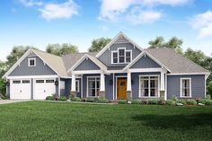 <div><ul><li>This charming four bedroom, three and a half bath Craftsman-style house plan features tapered columns and ornate brackets supporting the roof overhangs. The windows over the entry are decorative and add to the curb appeal.</li><li>Inside, the kitchen offers a large butler's pantry connecting the kitchen and dining areas and a wet bar in the great room.