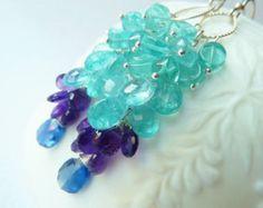 Peacock blue tassel earrings Moss Aquamarine Turquoise by TatianaG