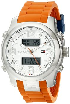 Tommy Hilfiger Men& 1790947 Cool Sport Analog-Digital and Orange Silicone Strap Watch *** You can find out more details at the link of the image. Tommy Hilfiger Watches, Stainless Steel Case, Orange, Digital, Sports, Mineral, Quartz, Swimming, Crystal