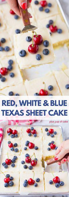 Red, White & Blue Lemon Texas Sheet Cake for the 4th of July!