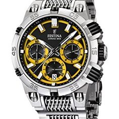 Festina Chrono Bike 2014 Men's Quartz Watch with Yellow Dial Chronograph Display and Silver Stainless Steel Bracelet F16774/7