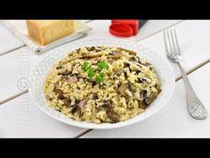 Risotto cu ciuperci - reteta video | JamilaCuisine Veg Recipes, Cooking Recipes, Mushroom Risotto, Romanian Food, Food Art, Oatmeal, Stuffed Mushrooms, Veggies, Pasta