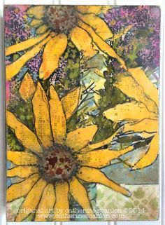 Sunflowers in a Jar Mixed Media Image Transfer Painting -- Encaustic