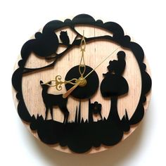 Laser cut black wall clock. Enchanted forest. Whimsical, wood, by snowfawn on etsy.