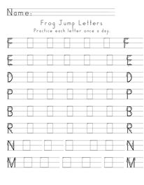 Frog Jump Letters Practice each letter once a day