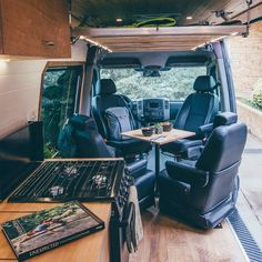 Van Life Storage and Organization Ideas Build a hidden table into a diy campervan conversion with this space saving advice! Camper van hacks and tips to designing a kitchen and bathroom layout in a tiny camper van and living small. Van Conversion Interior, Camper Van Conversion Diy, Van Conversion With Bathroom, Campervan Conversions Layout, Ducato Camper, Small Motorhomes, Vw Camping, Tiny Camper, Build A Camper Van