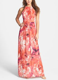 This pink floral print chiffon maxi dress is perfect for spring.