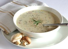 Wild About Mushroom Soup. This delicious soup is lightened up gluten free and vegetarian. Holiday Side Dishes, Side Dishes Easy, Side Dish Recipes, Soup Recipes, Cooking Recipes, Vegetarian Recipes, Christmas Dishes, Candy Recipes, Copycat Recipes