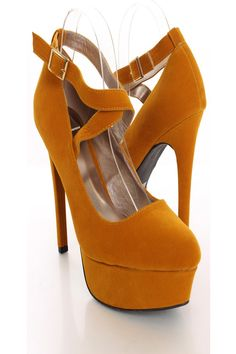 AMIClubwear premier ecommerce site for women's clubwear, party dresses, sexy shoes and bikinis at amazing prices. Strap Heels, Shoes Heels, Mustard Shoes, Cute Pumps, 6 Inch Heels, Autumn Winter Fashion, Fall Winter, Sexy Party Dress, Sexy High Heels