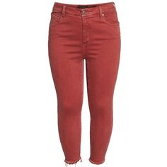 Plus Size Women's Lucky Brand Emma Crop Jeans ($80) ❤ liked on Polyvore featuring jeans, lucky brand jeans, red cropped jeans, women's plus size jeans, back pocket jeans and tailored jeans