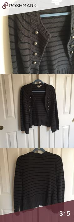 Striped Cardigan gray and black striped cardigan with button accents. Excellent condition, very comfortable. Size Medium- would fit small. Forever 21 Sweaters Cardigans