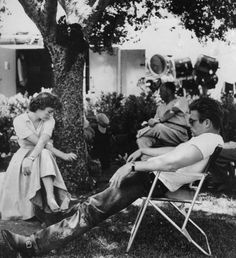 Natalie Wood & James Dean on the set of Rebel Without A Cause