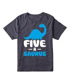 This Heather Blue 'Five-a-Saurus' Tee - Kids is perfect! #zulilyfinds