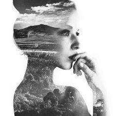 dame en noir et blanc artistique