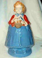 """Little Red Riding Hood Cookie Jar Vintage Unsigned Red Cape Blue Gown 13"""" Tall"""