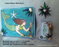 3 piece Mermaid Wall Decor_mermaid seahorse and sea star_beach decor wall art with seahorse by CarmelasCoastalCraft on Etsy