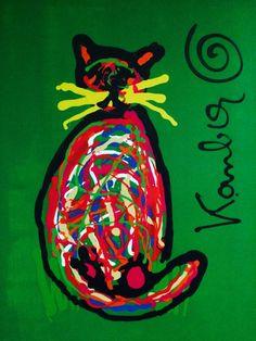 Jacob Kanbier - Green sad cat Sad Cat, Cats, Green, Painting, Crow, Gatos, Painting Art, Paintings, Cat