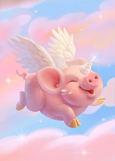 This Little Piggy, Little Pigs, Baby Animals, Funny Animals, Cute Animals, Pig Drawing, Pig Illustration, Pig Art, Flying Pig