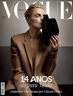 EDITORIAL+COVER: Guinevere van Seenus in Vogue Portugal November 2016 by Vincent Peters - Photography: Vincent Peters, Model: Guinevere van Seenus, Styling: Victoria Bartlett, Hair: Tomihiro Kono, Make-Up: Makky P. Vogue Magazine Covers, Fashion Magazine Cover, Fashion Cover, Vogue Covers, Magazine Editorial, Editorial Fashion, Fashion Editor, Gq, Guinevere Van Seenus