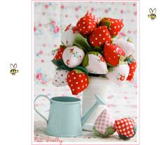 Fabric-strawberry-bouquet-tutorial with directions and pattern for strawberries. Darling for a summer tea party display!