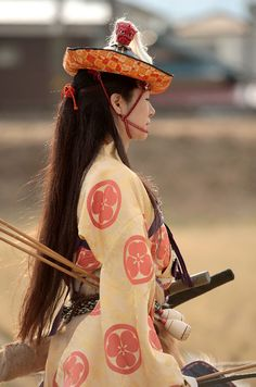 Yabusame (流鏑馬) a type of mounted archery. This style of archery began in the Kamakura period (1185-1333) when Minamoto no Yorimoto became horrified by the lack of skill (in archery) that the samurai had, so he created this as a training exercise. Though today it is still practiced.