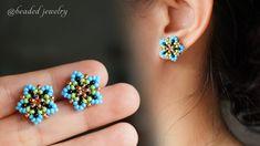 Diy Earrings Studs, Earrings Handmade, Handmade Jewelry, Beaded Earrings Patterns, Bracelet Patterns, Beaded Bracelets, Seed Bead Jewelry, Seed Bead Earrings, Earring Tutorial