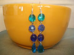 My new dangling style. I love all the hues of blue!!!