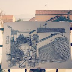 jaredmuralt: View from our balcony in Paxos. #Drawing in my #Moleskine #sketchbook #Greece #Paxos #illustration #town